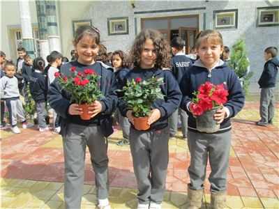 Grade 1 Students Plant Flowers